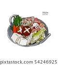 Nabe, Japanese hot pot. hand draw sketch vector. 54246925