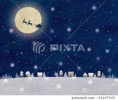 聖誕老人和雪夜空和城市觀油 54247345