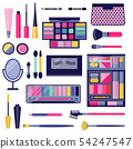 Women Eye Make-up Cosmetic Flat Icon Set 54247547