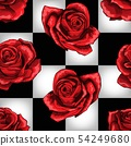 Wonderland red roses on chessboard background. Vector seamless pattern 54249680