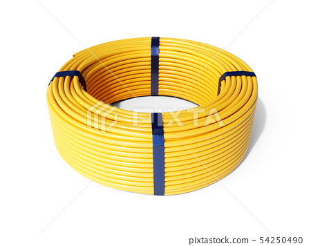 Yellow plastic rolled hose pipe 54250490