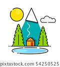 Log Cabin In The Woods Vector Icon Ready For Your 54250525