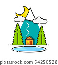 Log Cabin In The Woods Vector Icon Ready For Your 54250528