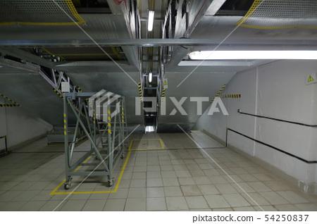 Subway escalators. Bottom view 54250837