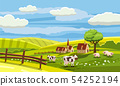 Cute rural landscape with farm, cow, flowers 54252194