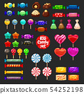 Set of different sweets on black background hard 54252198