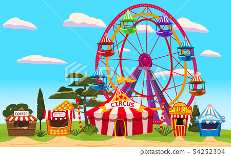 Amusement park, a landscape with a circus, 54252304