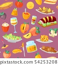 Persimmon vector fresh fruity food dessert and sweet fruit of persimmon-tree illustration set of 54253208