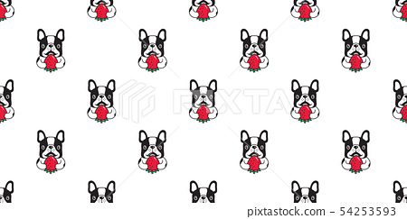 dog seamless pattern vector french bulldog fruit 54253593