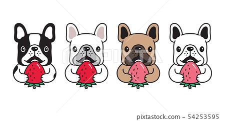 dog vector french bulldog icon strawberry cartoon  54253595