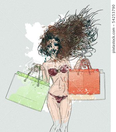 Watercolor shopping bikini girl 54253790