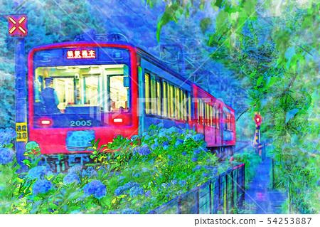 [Watercolor style] Landscape of Hakone Tozan Railway and hydrangea 54253887