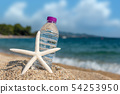 Bottle of fresh cold water on beach sand 54253950
