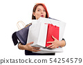 Excited young girl with shopping bags 54254579