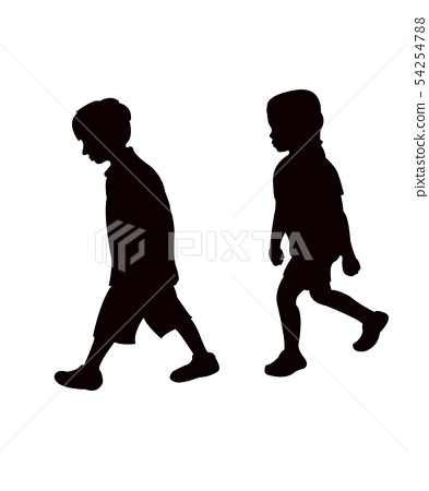a girl and a boy walking body silhouette vector 54254788