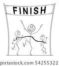 Vector Cartoon of Victorious Man Who Is First on the Finish Line Beating His Business Competitors 54255322