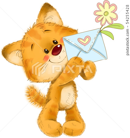 The cute kitten with love letter and flower greeting card illustration 54255428