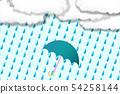 傘標記和雨和雲彩 54258144