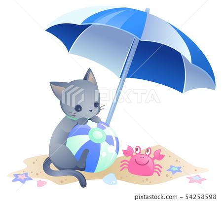 Illustration cut of cat and beach umbrella 54258598
