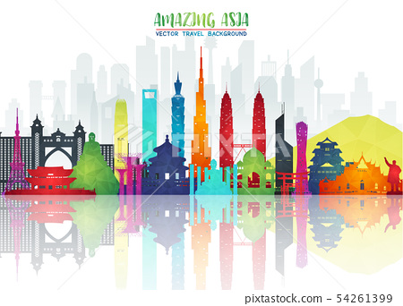 Asia famous Landmark paper art. Global Travel And 54261399