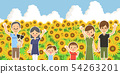 Three generations family and pet sunflower field waving hand side by side 54263201