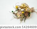 흰색 배경에 말린 꽃의 꽃다발 세련된 인테리어 54264609