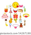 Cakes icons set, cartoon style 54267190