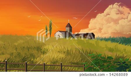Jeju, beautiful island of S. korea. painting of beautiful scenery of Jeju illustration 006 54268089