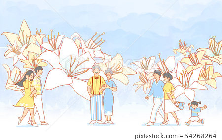 illustration of Enjoy the spring flower festival with family or couple 007 54268264