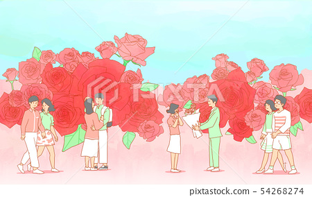 illustration of Enjoy the spring flower festival with family or couple 008 54268274