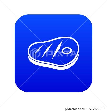 Meat steak icon digital blue 54268592