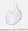Thumbs up icon, cartoon style 54269239