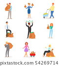 People money vector wealth businessman woman person character holding bag with coins cash currency 54269714