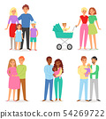 Family vector people character woman man children boy and girl together in love illustration set of 54269722