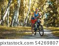 cyclist cycling mountain bike on birch forest trail 54269807