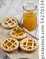 Fresh baked tarts with marmalade filling and 54270334