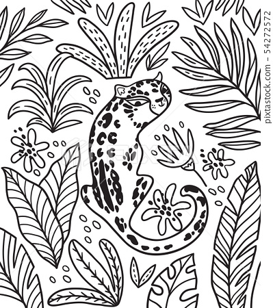 Black And White Print With Cartoon Puma And Stock Illustration 54272572 Pixta Download outline drawing stock photos. https www pixtastock com illustration 54272572