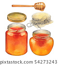Watercolor set of isolated honey bottles, caps and dipper 54273243