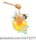 Watercolor honey bottle decorated with chamomile flowers 54273277