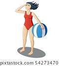 Girl with a beach ball 54273470