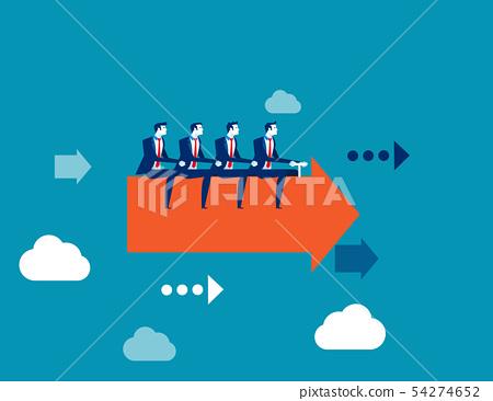 Business team ride arrow. Concept business success 54274652
