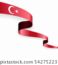 Turkish flag wavy abstract background. Vector illustration. 54275223