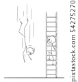 Vector Cartoon of Man or Businessman Climbing Up the Ladder while Business Competitor is Falling 54275270