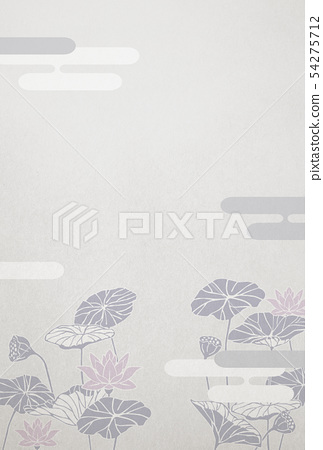 Mourning postcard-lotus-background material-Japanese paper 54275712