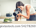 Woman professional photographing plate with 54278260