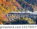 秋天Tadami線第一座橋樑和蒸汽機車 54279057