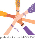Vector image of hands shaking as friendship symbol.  54279357