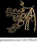 Hand drawn golden oak leaves ,acorns and oak 54279520
