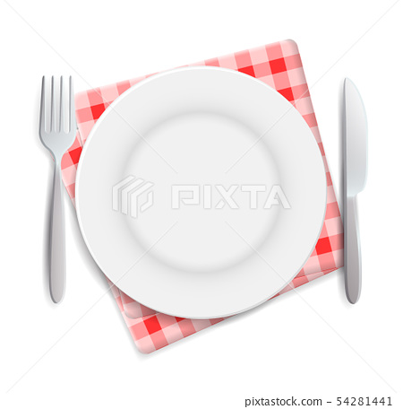 Realistic empty plate, fork and knife served on checkered red napkin vector illustration. Can be 54281441
