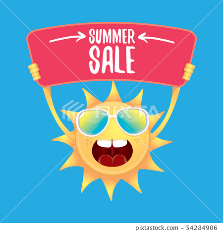 vector summer happy sun holding sale offer sign 54284906